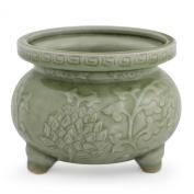 Celadon ceramic incense burner, 'Thai Forest' - Celadon Ceramic Incense Burner