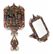 Ivenf Clouds & Castle Vintage Style Foldable Make-Up Hand Mirror, Basso-Relievo Castle Pattern, Bronze & Pink