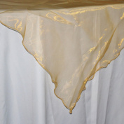 Firefly Imports Organza Table Cover with Overlay Ruffled Edge, 200cm , Gold