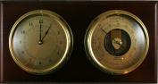 Fischer Instruments 1486-22-B Marine Barometer with Quartz Clock, Brass