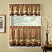 90cm Length Wines Tailored Tier Curtain And Valance Set By Chf Industries