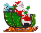 43cm Lighted Double-Sided Shimmering Santa in Sleigh Christmas Window Silhouette Decoration