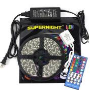 SUPERNIGHT 5050 RGBW Music LED Strip Kit DC12V RGB + Cool White Colour Mixed Waterproof LED Tape Light w/ 44key Music IR Controller Party LED Lights + DC12V Power Supply LED DIY Lights Full Kit