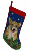 Corgi Christmas Stocking 100% Wool Hand-Stiched Needlpoint