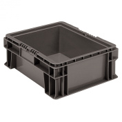 Buckhorn SW1512060206000 Plastic Straight Wall Storage Container Tote, 38cm by 30cm by 14cm , Dark Grey