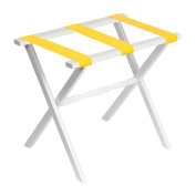 White Straight Leg Luggage Rack with Bright Yellow Straps