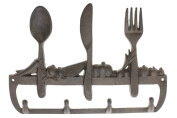 Cast Iron Wall Hanger For Kitchen - Old Fashioned Spoon, Knife and Fork with 3 Hooks - Keys, Towels, Clothes, Anprons - Wall Mounted, Metal, Heavy Duty, Rustic, Vintage, Recycled, Decorative Gift Idea - 30cm x 20cm - With Screws And Anchors By Comfify  ..