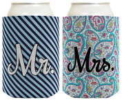 Wedding Coolie Mr Mrs Paisley Stripe Bridal Shower Bachelorette Party Gift 2 Pack Can Coolie Drink Coolers Coolies Premium Full Colour