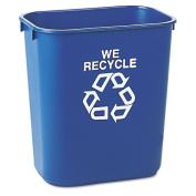 Rubbermaid Commercial Small Deskside Recycling Container, Rectangular, Plastic, 13 5/7.6l, Blue - one recycling container.