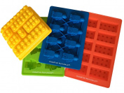 Building Bricks and Figures Silicone Candy Moulds - Lego Style PREMIUM 4 Piece Party Set - Make Ice Cubes, Cake Toppers, Chocolate, Fondant, Fruit Juice Gummies, Healthy Snacks, Jello, Crayons, Soap, Candles - Fantastic Party Favours and Birthday Fun