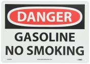 "NMC D388AB OSHA Sign, Legend ""DANGER - GASOLINE NO SMOKING"", 36cm Length x 25cm Height, Aluminium, Black/Red on White"