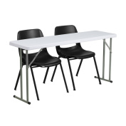 Flash Furniture RB-1860-2-GG Plastic Folding Training Table with 2 Black Plastic Stack Chairs, 46cm x 150cm