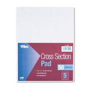 TOPS Products - TOPS - Section Pads, 5 Squares, Quadrille Rule, Letter, White, 50 Sheets/Pad - Sold As 1 PD - Non-repro blue rulings, heavy every inch. - Ruled both sides. - 9.1kg. paper weight.