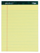 TOPS Docket Writing Tablet, 22cm x 30cm , Perforated, Canary, Legal/Wide Rule, 50 Sheets per Pad, 3 Pads per Pack