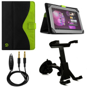 Soho Fold to Stand Nylon Portfolio Case for BLU / Prontotec / Nuvision / NeuTab / Tagital / iView 20cm - 26cm Tablets + Windshield Mount + Auxiliary Cable