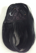 Clip in Front Closure Bangs Fringe COLOUR 1 Black Straight 100% Remi Human Hair Extensions