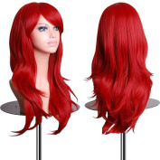 """S-noilite® 23"""" 58cm Medium Long Layer Wavy Full Wigs Soft Hair Curly Anime Cosplay Party Wig Wine Red For Lady Women"""