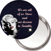 "Button, Compact Makeup Mirror with Marilyn Monroe image ""We are all of us Stars and we deserve to Twinkle"" delivered in a black organza bag."