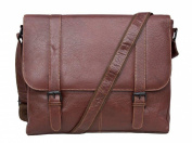 Tribal Brown Buffalo Leather Buckle Messenger Bag