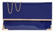 Haute For Diva's Womens Small Flat Faux Patent Leather Gold Trim Prom Party Bridal Clutch Purse Hand Bag