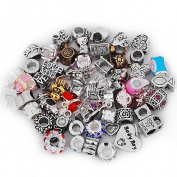 Ten (10) Rhinestone Charm Beads in Assorted Colours to Choose From For Snake Chain Bracelets