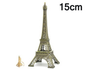Eiffel Tower Metallic Model Statue Figurine Replica Centrepiece for Desk Room Home Office Decoration Gift - 15cm