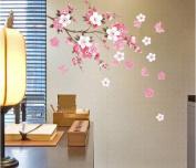 . Peach Blossom Flowers & Butterflies Wall Decal