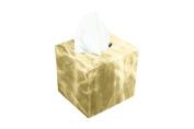 Lucrin - Squared tissue box holder - Golden - Metallic Leather