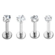PiercingJ 2-4pcs 16g 316L Stainless Steel 3mm Cubic Zirconia Labret Monroe Lip Ring/ Tragus/ Helix Earring,6-12mm Bar Length