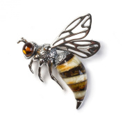Classic Baltic Amber and Silver Hornet Brooch