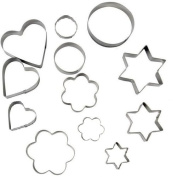Homgaty 12 Pcs Metal Cookie Pastry Cutters Heart Star Circle Flower Shaped Mould For Baking Bakery