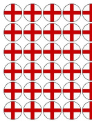 30 England Flag Premium Rice Paper Cake Toppers