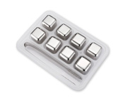Stainless Steel Reusable Whiskey Ice Cubes Rocks Stones Chilling Ball Wine Juice Soda Beer Chillers Set of 8 with Tong