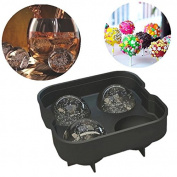 EQLEF® Ice Ball Maker Mould - Silicone Ice Mould Tray With 4 X 4.5cm Ball