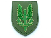 SAS Who Dares Wins Green PVC Airsoft hook and loop Patch