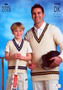 King Cole Men & Boys Cricket Sweaters DK Knitting Pattern 2940