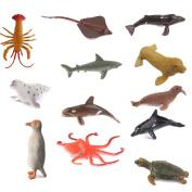 Hard Plastic Model Marine Animals Kids Toy Set of 12pcs Multi-colour