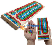 Traditional Wooden Cribbage Board Game Folding 3 Track 9 Pegs Family Travel Size
