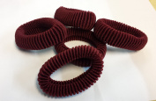 Hair Ponios Donuts Bobbles Large Bands Maroon Colour pack of 5