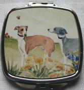ITALIAN GREYHOUND DOG compact mirror design Sandra Coen