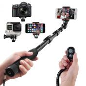 Selfie Stick, Arespark Premium Extendable Handheld Portable Selfie Pole Selfie Monopod for Gopros, DSLR, Digital Cameras & Cellphones(iphone 6 6plus 5s 5c, Note 4, etc) Extended Range Approx 41cm - 130cm with Bluetooth Remote Shutter Control for Ios/an ..