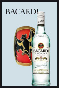 Empire 552099 Printed Mirror with Plastic Frame with Wood Effect Featuring Bacardi Bottle Advert 20 x 30 cm