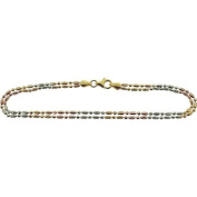 The Olivia Collection Ladies Sterling Silver 3 Tone, Double Row 25cm Anklet