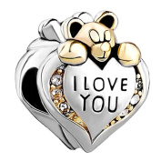 I Love You Heart Charm Sterling Silver Bear Bead Clear Crystal April Birthstone fits Pandora, Chamilia
