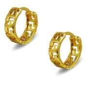 18ct Gold Filled Greek Key Pattern Hoop Earrings Womens or Girls