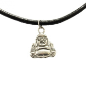 TrendsMe Real Black Leather Cord Choker Necklace with Vintage Tibetan Silver Charm Pendant [Buddha]