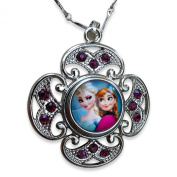 Movie Jewellery Snow Queen Elsa and Princess Anna Glass Cabochon Pendant Necklace with Crystal Surround
