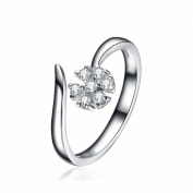ZLYC Women's Sterling Silver Delicate Daisy Flower with Rhinestone Open Resizable Ring