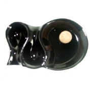 AT3017 - Gloss Black Ceramic Pipe Ashtray With Two Pipe Rests