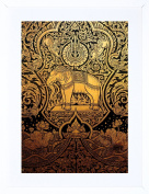 23cm x 18cm PAINTING DRAWING ORNATE ABSTRACT THAILAND ELEPHANT FRAMED WALL ART PRINT PICTURE PAINTING WOODEN PHOTO FRAME BLACK WHITE OAK BROWN F97X666